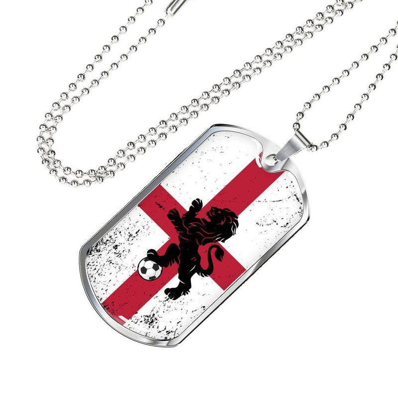 Express Your Love Gifts England Flag and Futbol/Soccer Dog Tag Pendant Necklace
