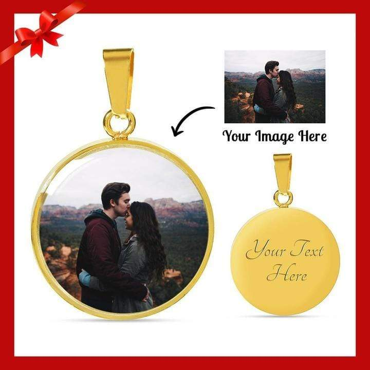 Engraved Photo Circle Pendant Customize Your Picture Express Your Love Gifts