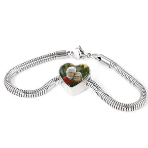 Engraved Photo Heart Charm Stainless Steel Bracelet Express Your Love Gifts