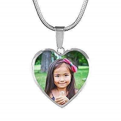 "Engraved Photo Heart Pendant Stainless Steel Necklace Adjustable 18""-22"" Express Your Love Gifts"