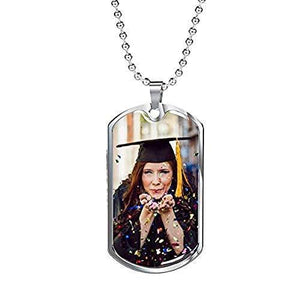 Express Your Love Gifts Engraved Picture Dogtag-Customize Your Picture includes Free Engraving and Luxury Gift Box Military Chain (Silver) / Yes
