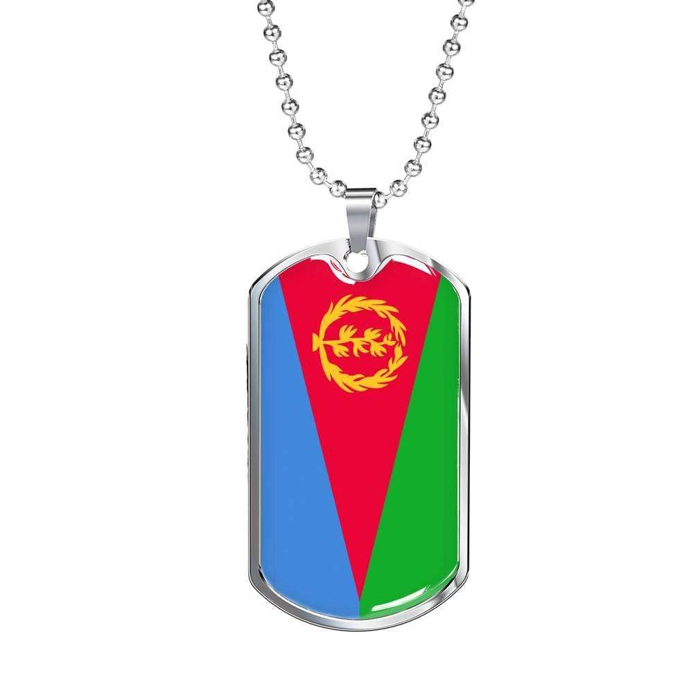 "Eritrea Flag Necklace Eritrea Flag Stainless Steel or 18k Gold Dog Tag 24"" - Express Your Love Gifts"