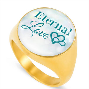 Express Your Love Gifts Eternal Love 18k Gold Finish Circle Signet Ring w Free Luxury Gift Box Size 4