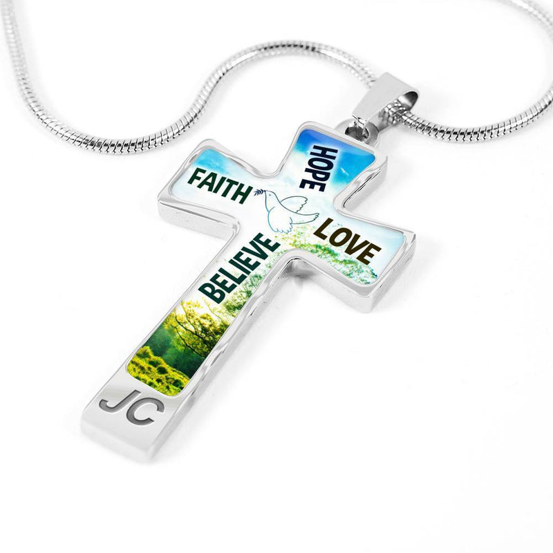 Express Your Love Gifts Faith Hope Love Believe Bible Verse Engravable Cross Pendant Necklace