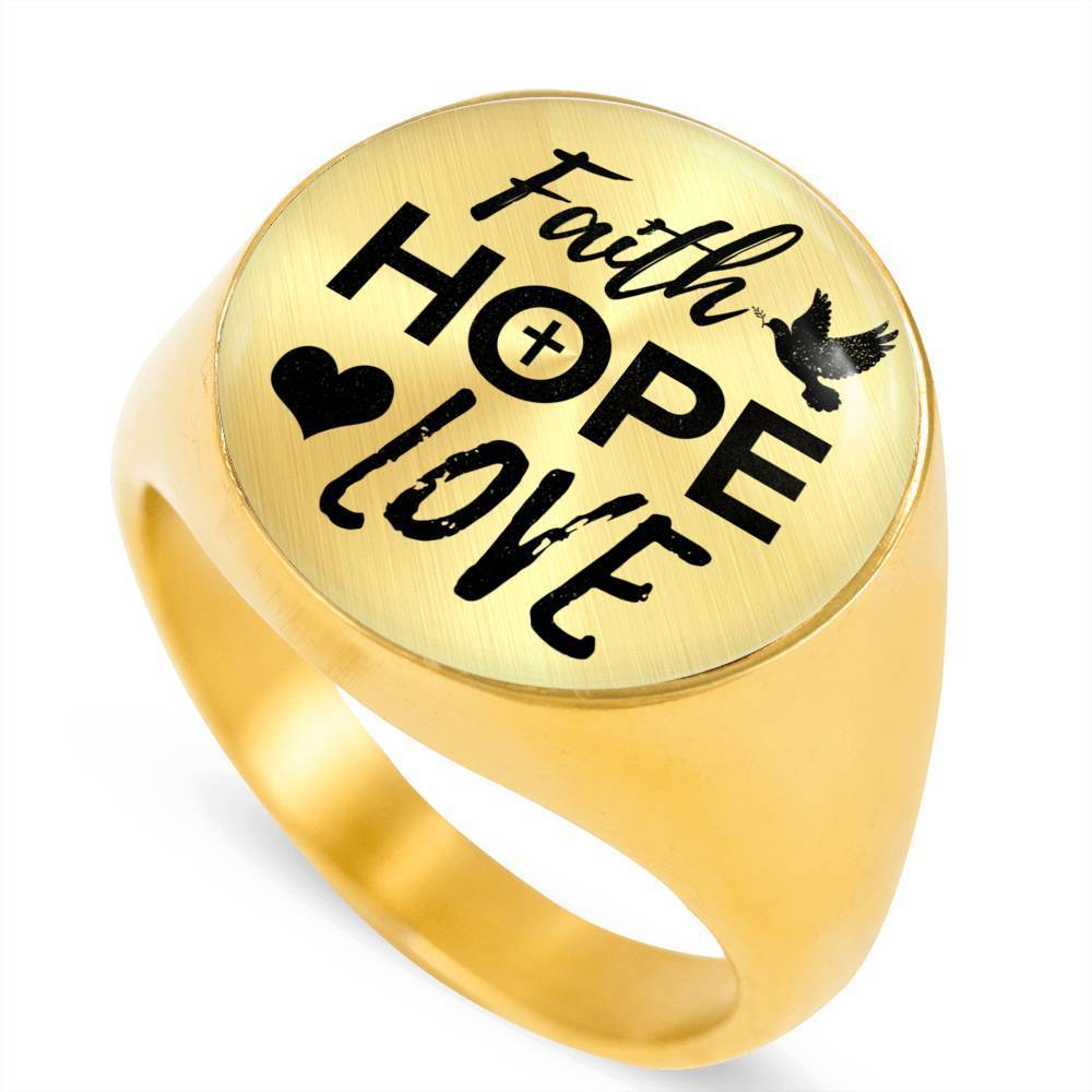 Express Your Love Gifts Faith Hope Love Bible Verse 18k Gold Finish Circle Signet Ring w Free Luxury Gift Box Size 4