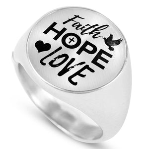 Express Your Love Gifts Faith Hope Love Bible Verse Stainless Steel-Silver Tone Circle Signet Ring w Free Luxury Gift Box Size 4
