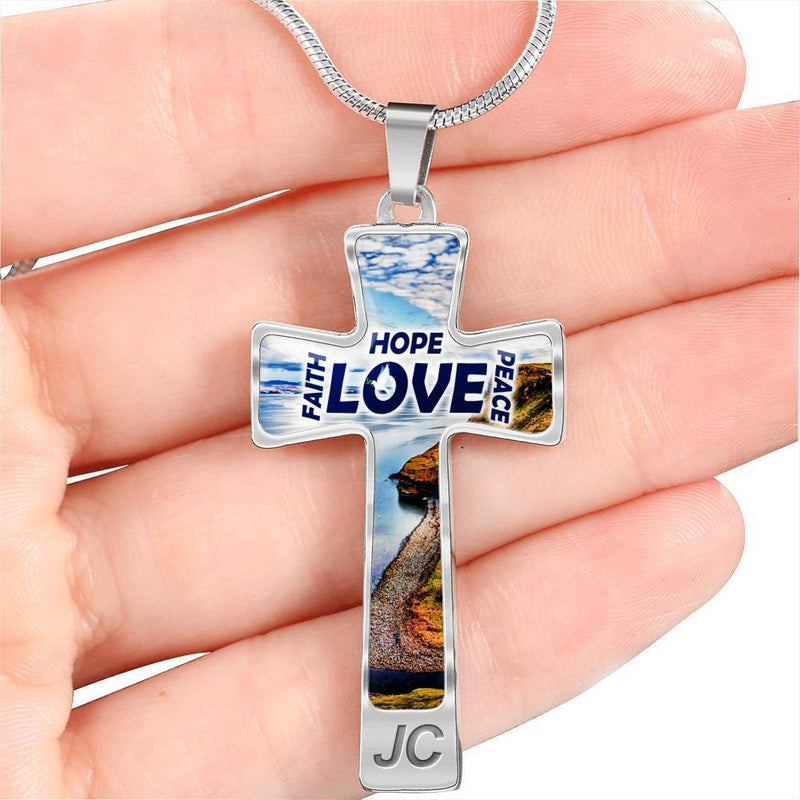 Express Your Love Gifts Faith Hope Peace Love Bible Verse Engravable Cross Pendant Necklace