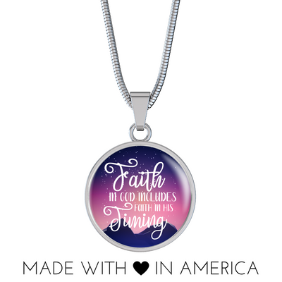 Express Your Love Gifts Faith in God Includes Faith In His Timing Circular Pendant Necklace Luxury Necklace w/ adjustable snake-chain