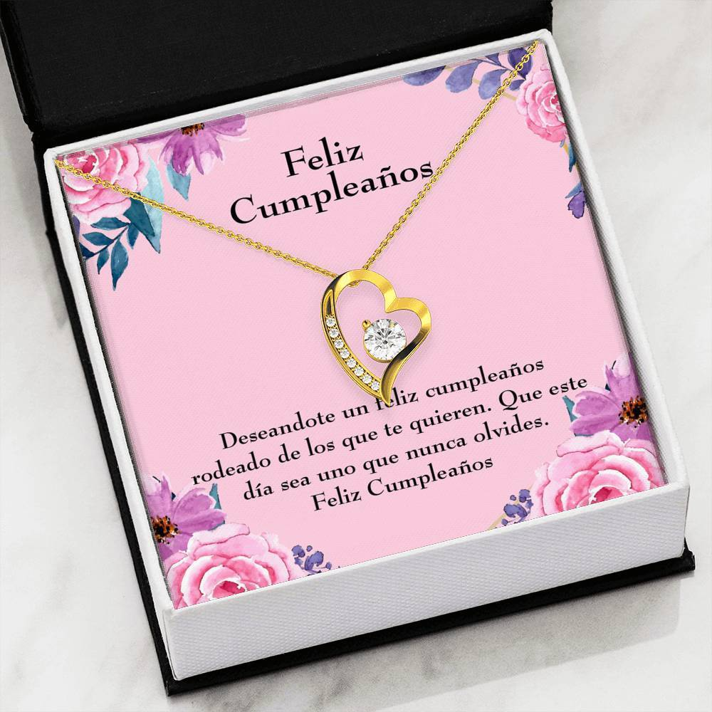 "Feliz Cumpleaños Spanish Happy Birthday CZ Love Heart Pendant 18k Gold or Stainless Steel 18"" Necklace - Express Your Love Gifts"