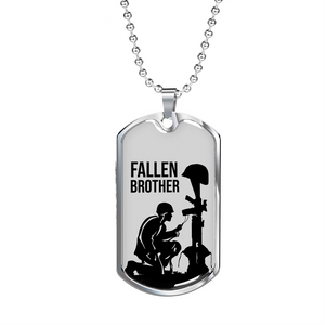 Express Your Love Gifts Final Tribute Fallen Soldier Dog Tag Pendant Necklace
