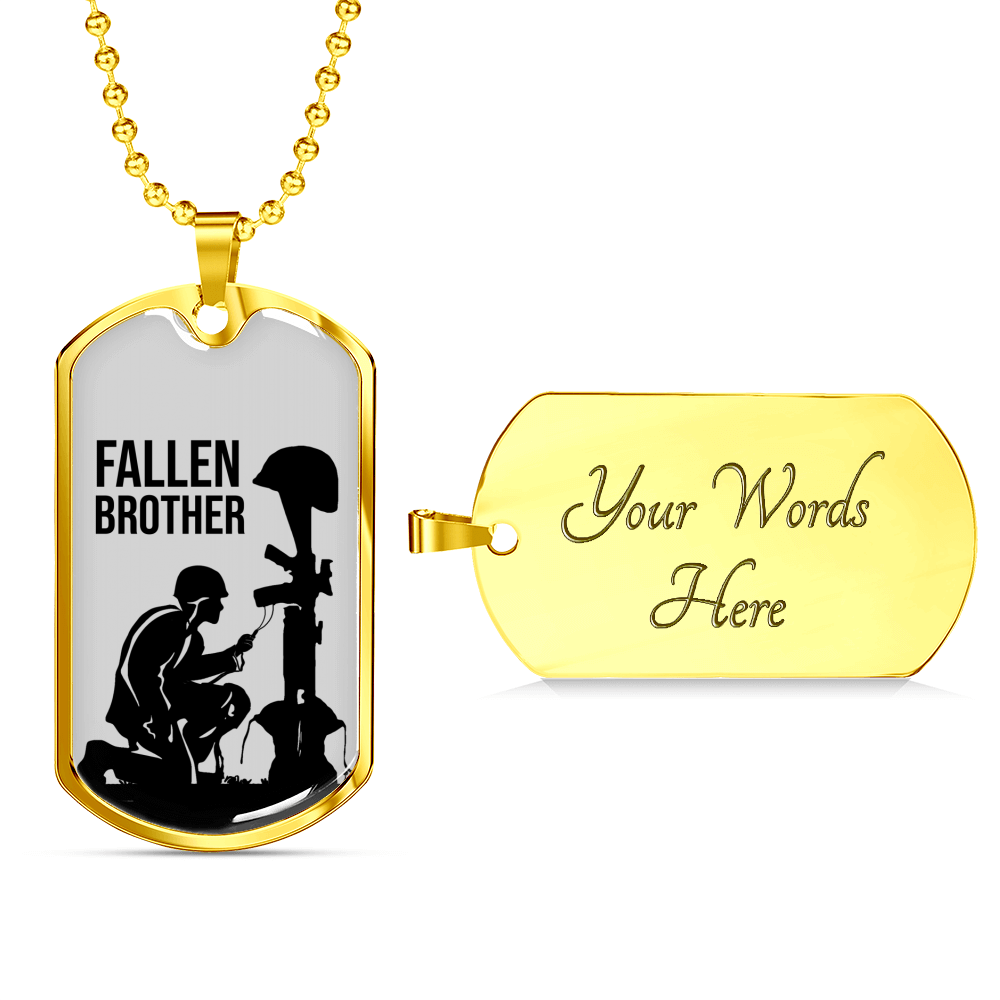 Express Your Love Gifts Final Tribute Fallen Soldier Dog Tag Pendant Necklace Military Chain (Gold) / Yes