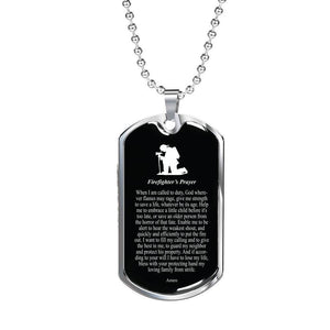 Express Your Love Gifts Firefighter's Prayer Faith Jewelry Gift Necklace Dog Tag Pendant