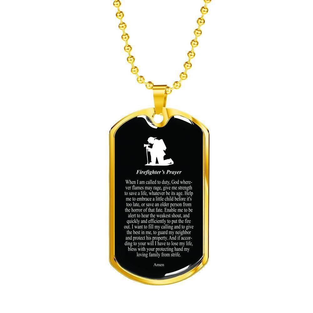 "Firefighter's Prayer Stainless Steel or 18k Gold Dog Tag w 24"" Chain Fireman Gift - Express Your Love Gifts"
