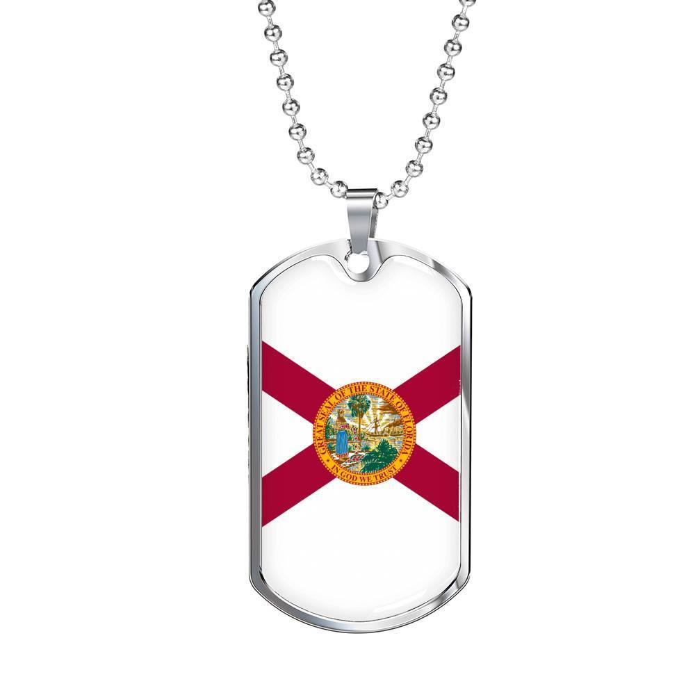 "Express Your Love Gifts Florida Flag Handmade Pendant Stainless Steel or 18k Gold Military Dog Tag Necklace w 24"" Ball Chain Military Chain (Silver) / No"