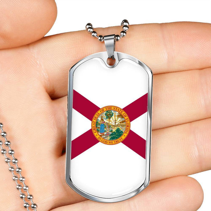 "Florida State Flag Necklace Stainless Steel or 18k Gold Dog Tag w 24"" Chain - Express Your Love Gifts"