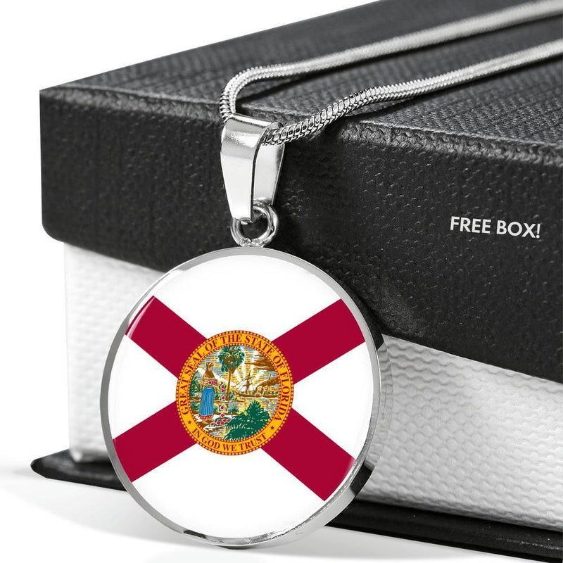 "Express Your Love Gifts Florida State Flag Circle Pendant Stainless Steel or 18k Gold Finish Necklace Adjustable 18""-22"" Luxury Necklace (Silver) / No"