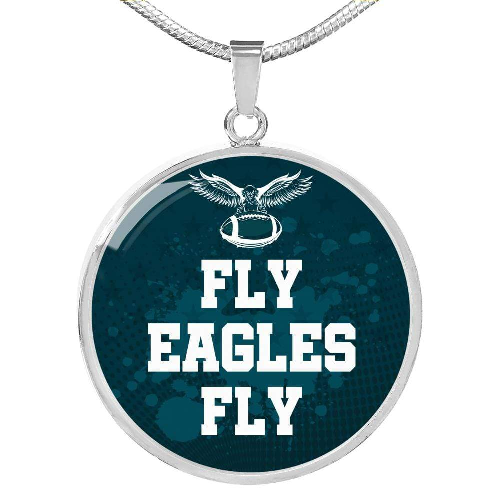 "Fly Eagles Fly Philadelphia Fan Gift Circle Pendant Necklace Stainless Steel or 18k Gold Finish 18""-22"" Express Your Love Gifts"
