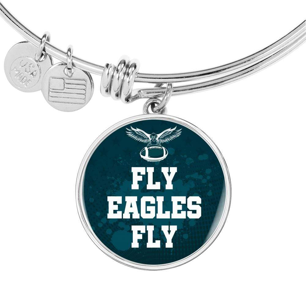 Fly Eagles Fly Philadelphia Fan Gift Stainless Steel or 18k Gold Finish Circle Bangle Bracelet Express Your Love Gifts