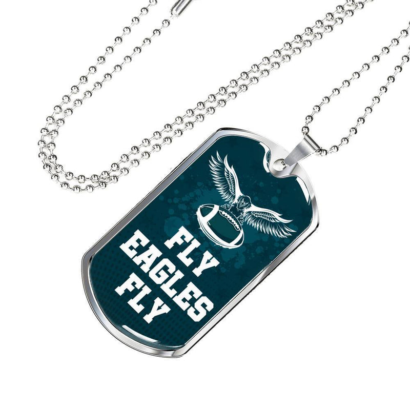 Express Your Love Gifts Fly Eagles Fly Philadelphia Sports Fan Jewelry Gift Dog Tag Necklace with Ball Chain