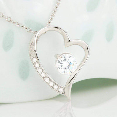 "Forever and Always Cubic Zirconia Love Heart Pendant 18k Gold or Stainless Steel 18"" Necklace Express Your Love Gifts"