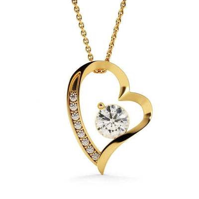 "Forever and Always CZ Love Heart Pendant 18k Gold Finish or Stainless Steel 18"" Necklace Express Your Love Gifts"