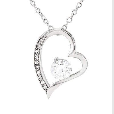 "Forever and Always Heart Infinity Pendant 18k Rose Gold Surgical Steel Cubic Zirconia Necklace 16"" Express Your Love Gifts"