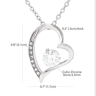 Gift for Granddaughter, Last Breath Grandma Forever Love Necklace-CZ Heart Pendant Stainless Steel or 18k Gold