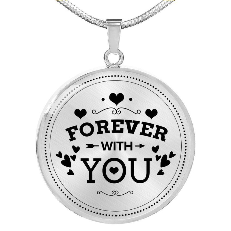 Express Your Love Gifts Forever With You Circular Pendant Necklace Luxury Necklace (Gold) / No