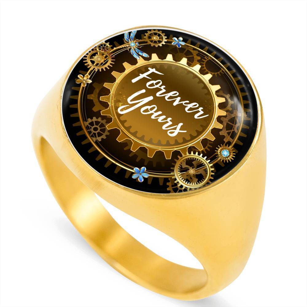Express Your Love Gifts Forever Yours 18k Gold Finish Circle Signet Ring w Free Luxury Gift Box Size 4