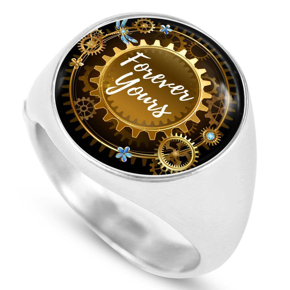 Express Your Love Gifts Forever Yours Stainless Steel-Silver Tone Circle Signet Ring w Free Luxury Gift Box Size 4