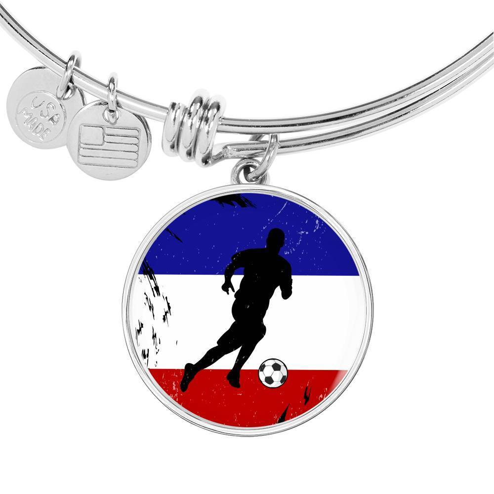 France Flag and Futbol/Soccer Stainless Steel or 18k Gold Circle Bangle Bracelet - Express Your Love Gifts
