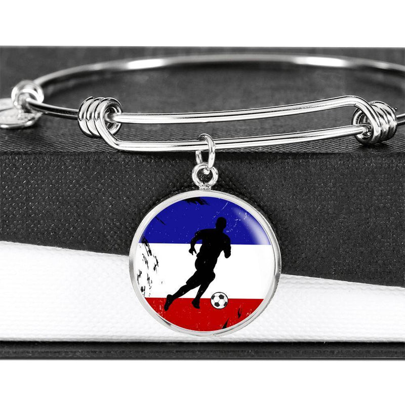 Express Your Love Gifts France Flag and Futbol/Soccer Circular Bracelet Bangle