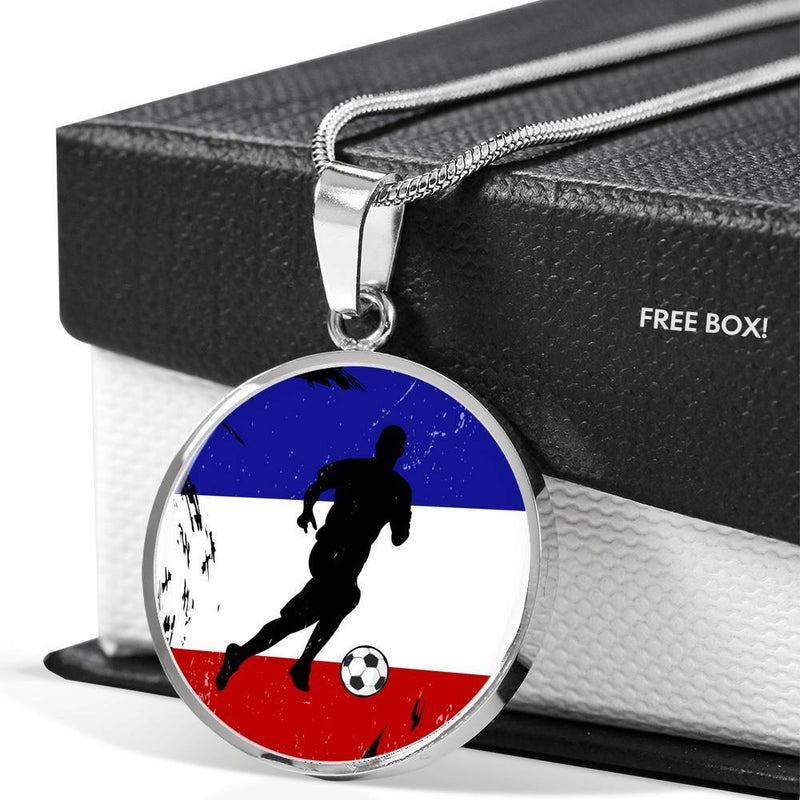 "France Flag and Futbol/Soccer Circle Pendant Necklace Stainless Steel or 18k Gold 18-22"" - Express Your Love Gifts"