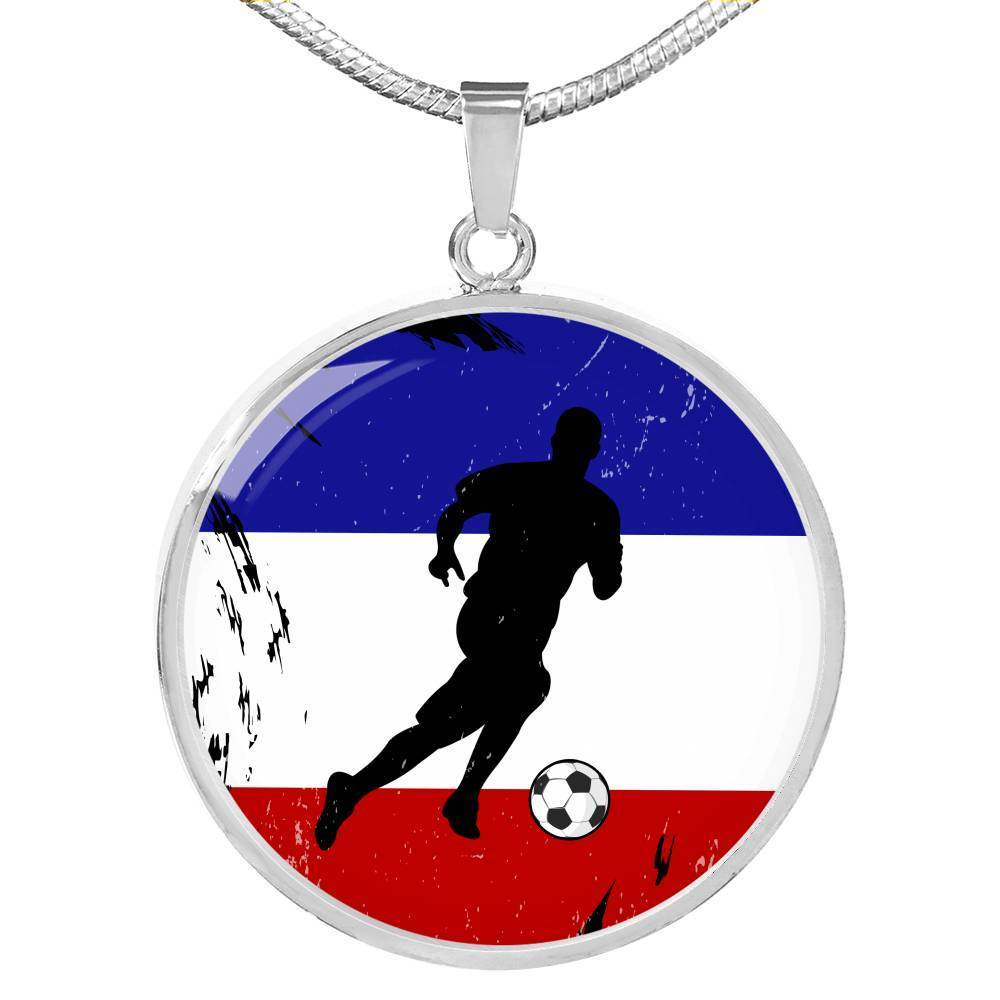 Express Your Love Gifts France Flag and Futbol/Soccer Circular Pendant Necklace