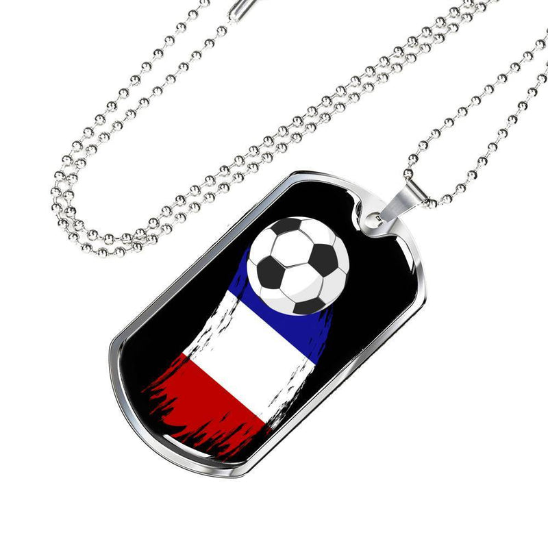 Express Your Love Gifts France Flag and Futbol/Soccer Dog Tag Pendant Necklace Military Chain (Silver) / No
