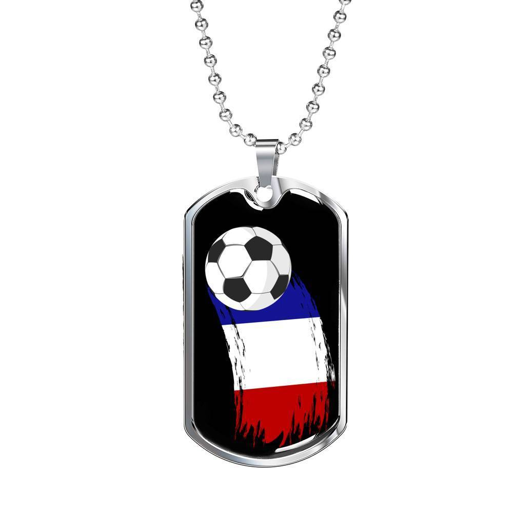 "France Flag and Futbol/Soccer Necklace Stainless Steel or 18k Gold Dog Tag w 24"" Chain - Express Your Love Gifts"