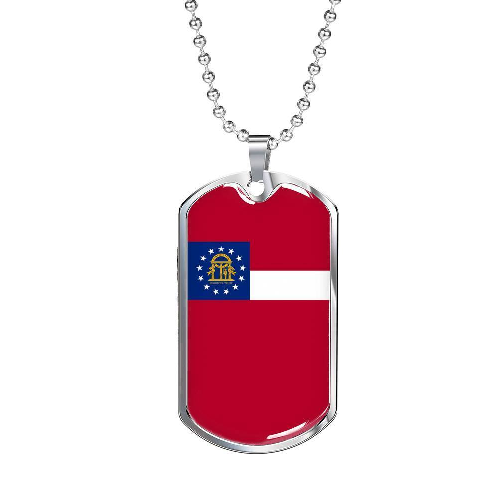 "Express Your Love Gifts Georgia Flag Handmade Pendant Stainless Steel or 18k Gold Military Dog Tag Necklace w 24"" Ball Chain Military Chain (Silver) / No"
