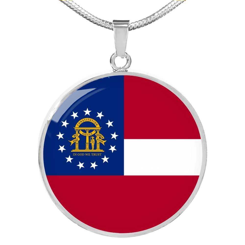 "Express Your Love Gifts Georgia State Flag Circle Pendant Stainless Steel or 18k Gold Finish Necklace Adjustable 18""-22"" Luxury Necklace (Silver) / No"