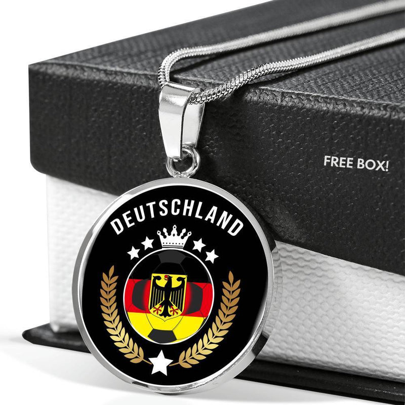 "Germany World Futbol/Soccer Cup Edition Circle Pendant Necklace Stainless Steel or 18k Gold - 18-22"" - Express Your Love Gifts"