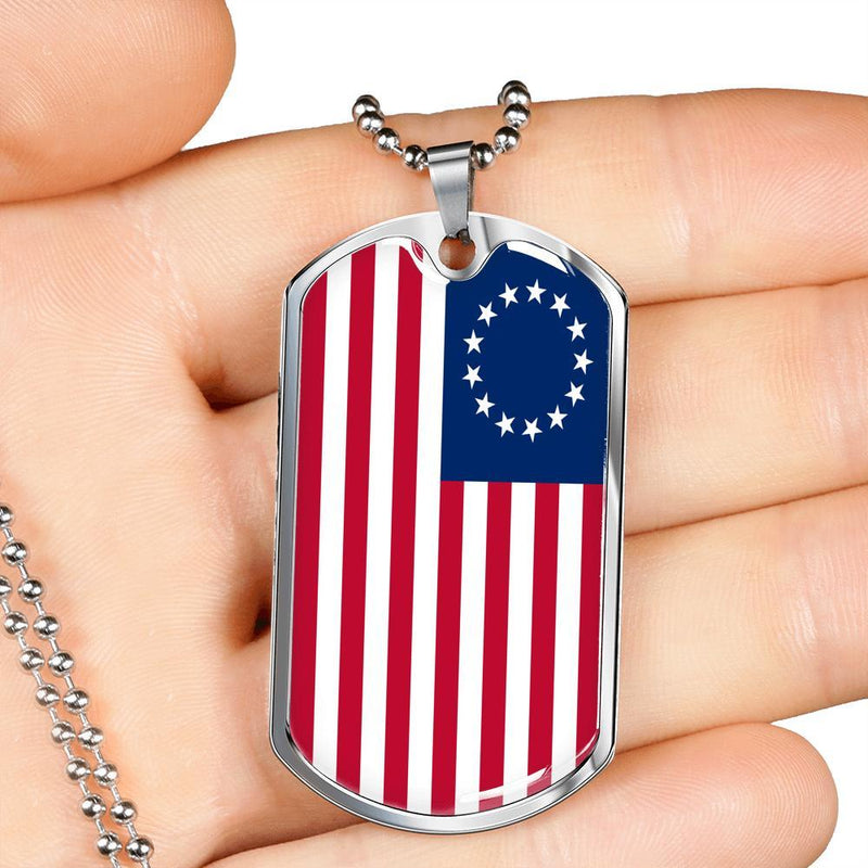 Express Your Love Gifts God Bless America Betsy Ross Retro Flag Necklace Military Chain (Silver) / No