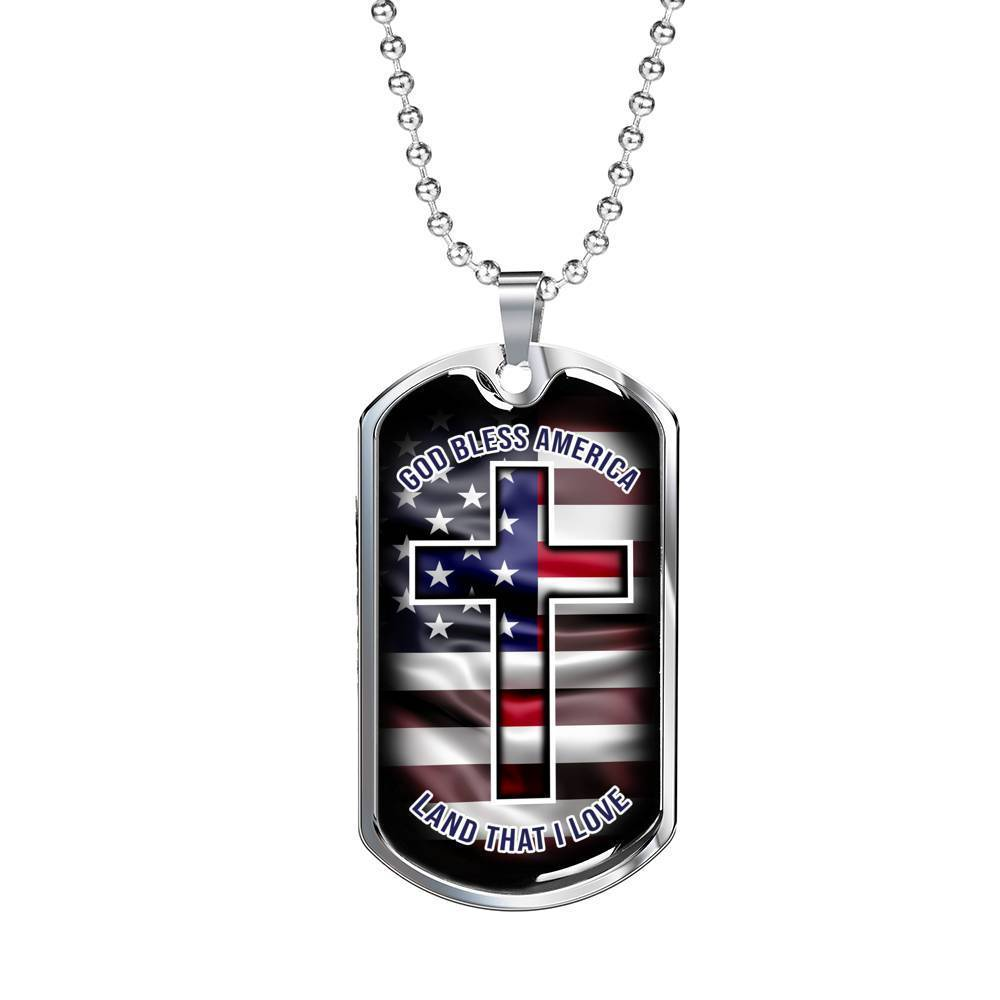 Express Your Love Gifts God Bless America Dog Psalm 33:12  Tag Pendant Necklace Military Chain (Silver) / No