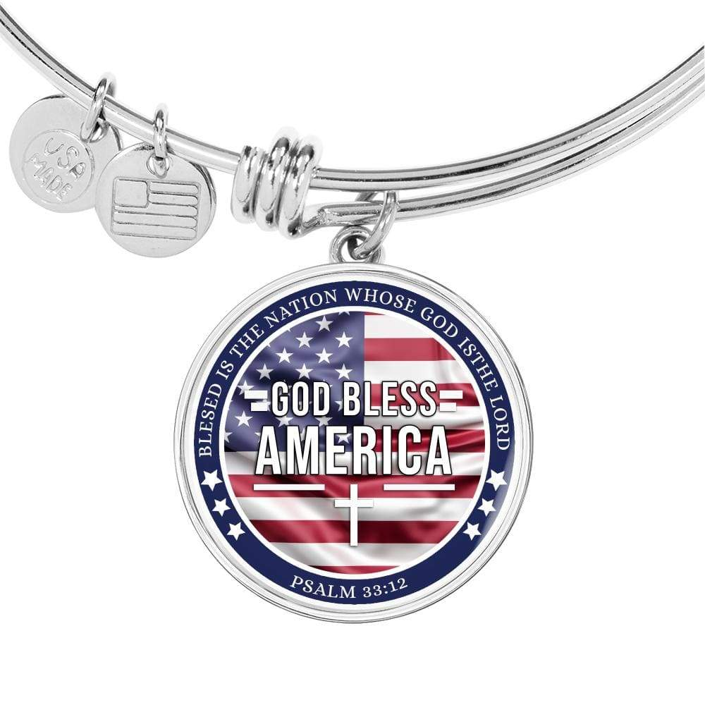 God Bless America Flag Stainless Steel or 18k Gold Finish Circle Bangle Bracelet Express Your Love Gifts