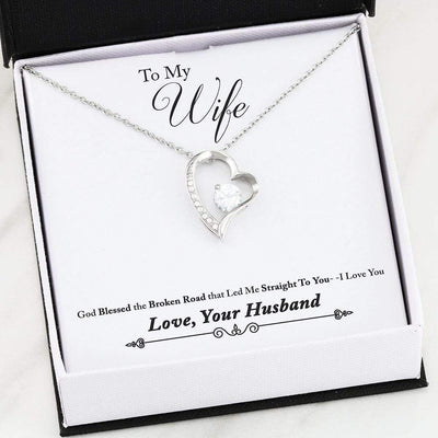 "God Blessed the Broken Road Cubic Zirconia Love Heart Pendant 18k Gold or Stainless Steel 18"" Necklace Express Your Love Gifts"