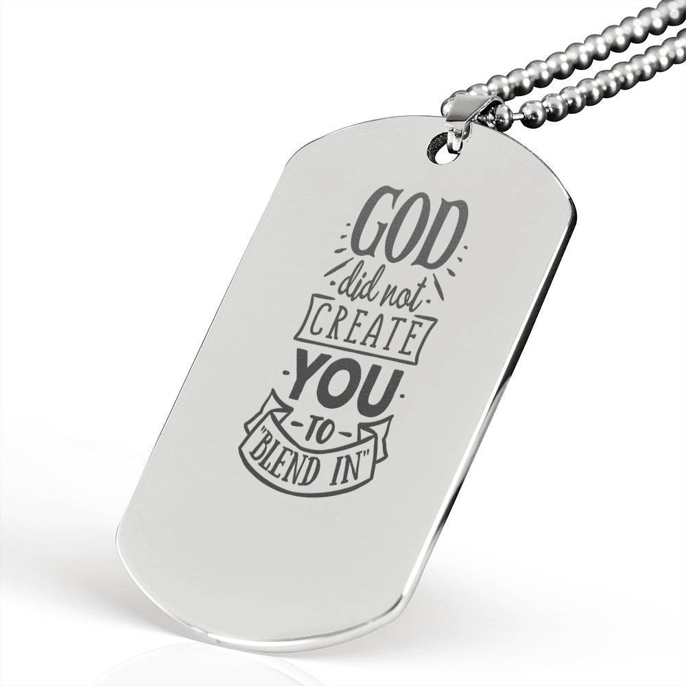 "God did not Create You Religious Encouragement Quote Necklace Stainless Steel Dog Tag w 24"" Ball Chain Express Your Love Gifts"