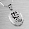 Express Your Love Gifts God Gave Me You Christian Faith Jewelry Oval Pendant Necklace Luxury necklace w/ adjustable snake-chain