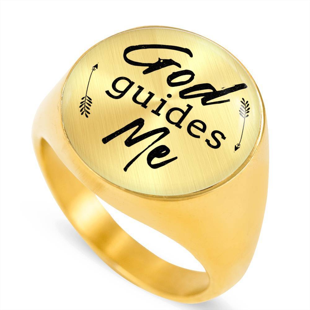 Express Your Love Gifts God Guides Me 18k Gold Finish Bible Verse Circle Signet Ring w Free Luxury Gift Box Size 4