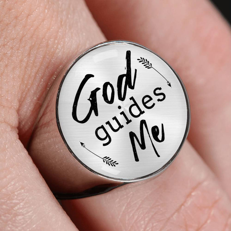 Express Your Love Gifts God Guides Me Stainless Steel-Silver Tone Bible Verse Circle Signet Ring w Free Luxury Gift Box Size 4