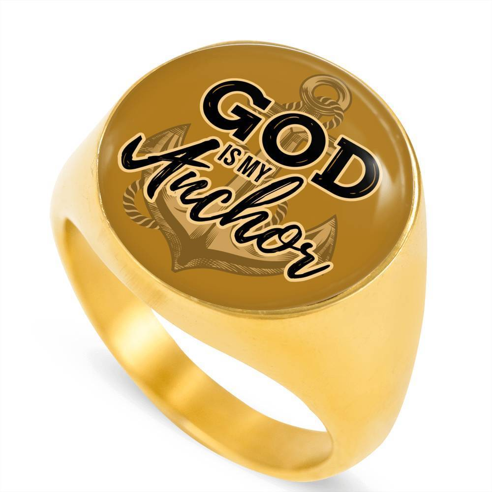 Express Your Love Gifts God Is My Anchor 18k Gold Finish Circle Signet Ring w Free Luxury Gift Box Size 4