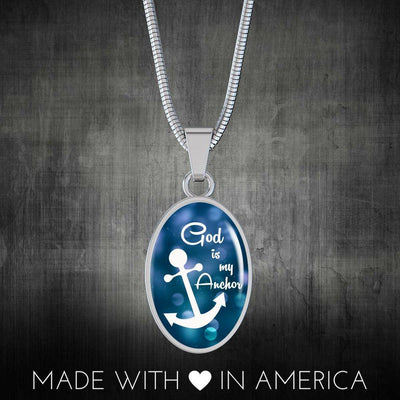 Express Your Love Gifts God is my Anchor Christian Necklace Bible Verse Hebrews Oval Pendant Luxury necklace w/ adjustable snake-chain