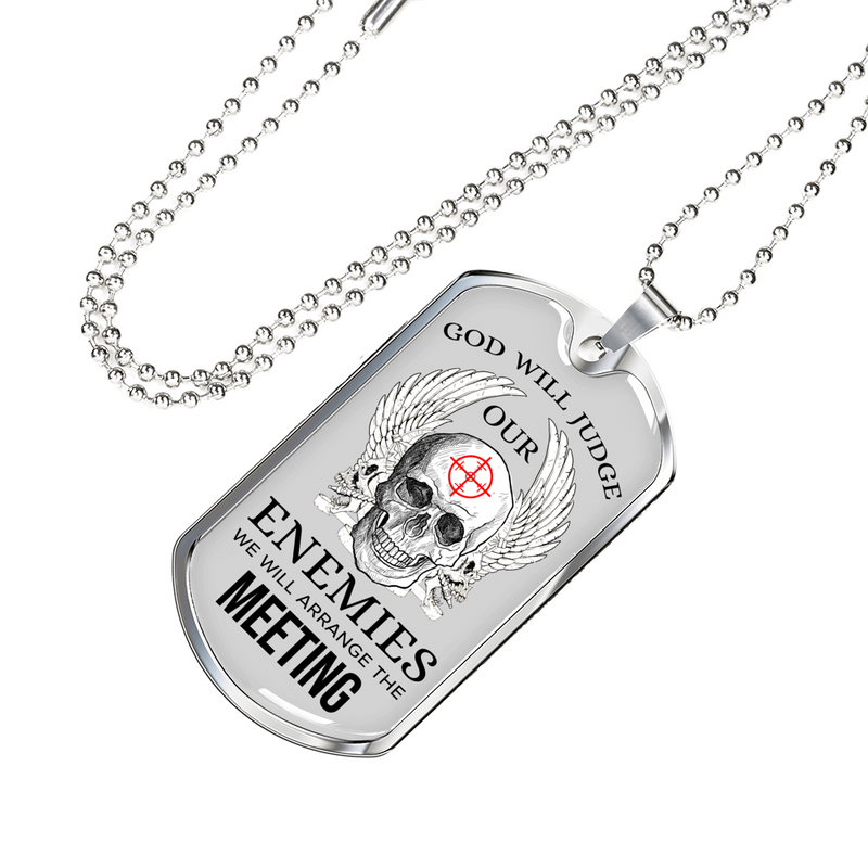 Express Your Love Gifts God Will Judge Dog Tag Pendant Necklace Military Chain (Silver) / No